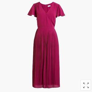 Pleated midi wrap dress